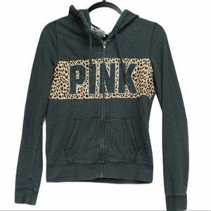 VS Pink small grey leopard zip hoodie